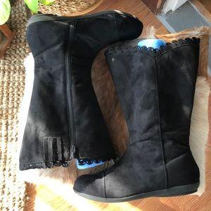 Comfortview Black Suede Boots 10 Wide Calf